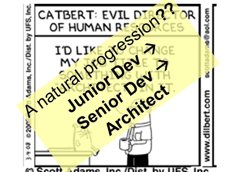 6 A natural progression?? Junior Dev  Senior Dev  Architect