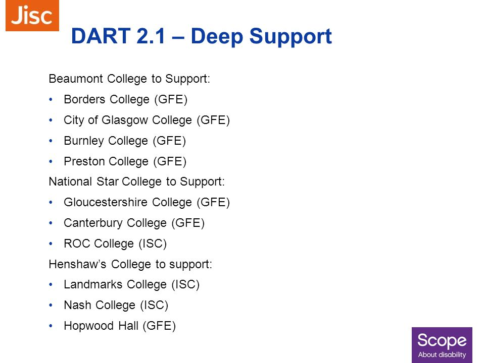 DART 2.1 – Deep Support Beaumont College to Support: Borders College (GFE) City of Glasgow College (GFE) Burnley College (GFE) Preston College (GFE) N
