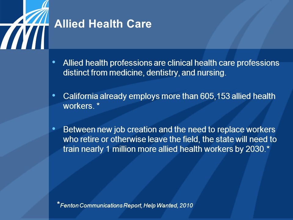Allied Health Care Allied health professions are clinical health care professions distinct from medicine, dentistry, and nursing. California already e