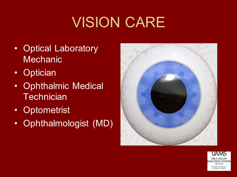 VISION CARE Optical Laboratory Mechanic Optician Ophthalmic Medical Technician Optometrist Ophthalmologist (MD)