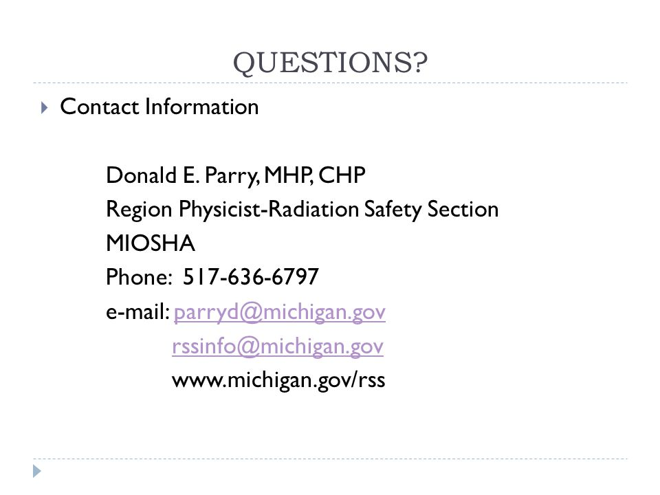 QUESTIONS. Contact Information Donald E.