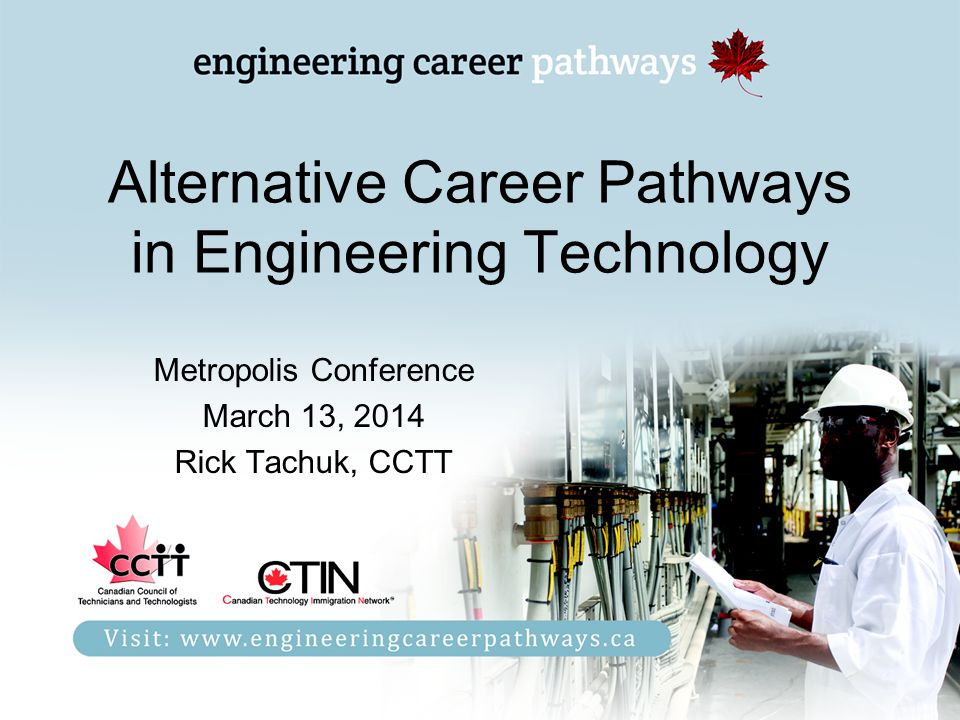 Alternative Career Pathways in Engineering Technology Metropolis Conference March 13, 2014 Rick Tachuk, CCTT