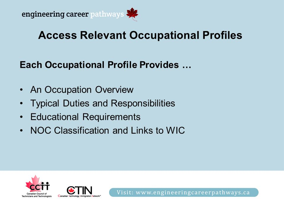 Access Relevant Occupational Profiles Each Occupational Profile Provides … An Occupation Overview Typical Duties and Responsibilities Educational Requirements NOC Classification and Links to WIC