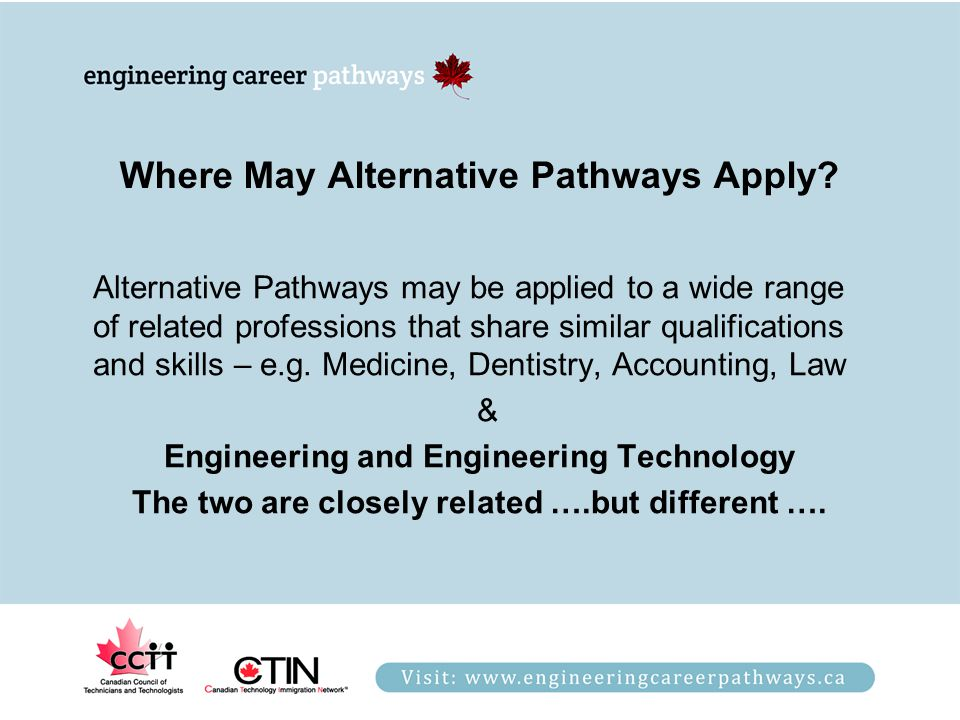 Where May Alternative Pathways Apply? Alternative Pathways may be applied to a wide range of related professions that share similar qualifications and