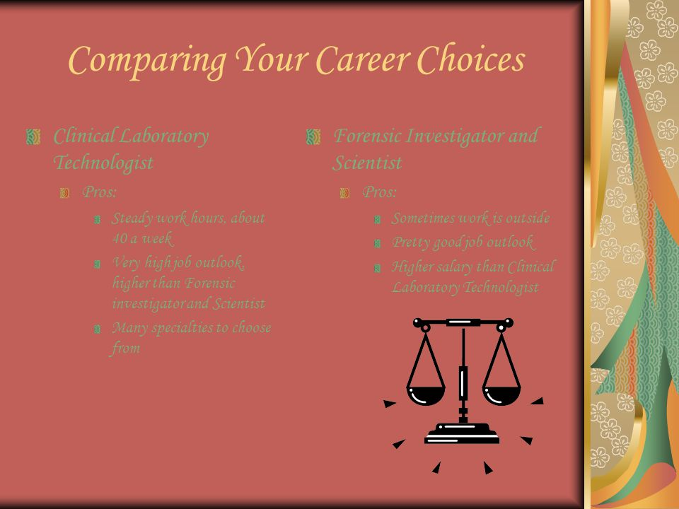 Comparing Your Career Choices Clinical Laboratory Technologist Pros: Steady work hours, about 40 a week Very high job outlook, higher than Forensic investigator and Scientist Many specialties to choose from Forensic Investigator and Scientist Pros: Sometimes work is outside Pretty good job outlook Higher salary than Clinical Laboratory Technologist