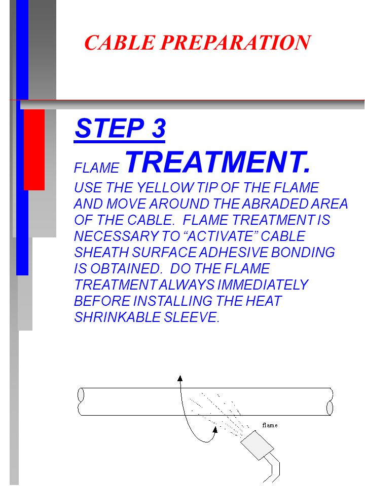 CABLE PREPARATION STEP 3 FLAME TREATMENT. USE THE YELLOW TIP OF THE FLAME AND MOVE AROUND THE ABRADED AREA OF THE CABLE. FLAME TREATMENT IS NECESSARY