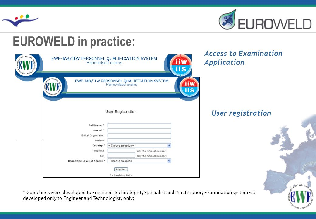 EUROWELD in practice: * Guidelines were developed to Engineer, Technologist, Specialist and Practitioner; Examination system was developed only to Eng