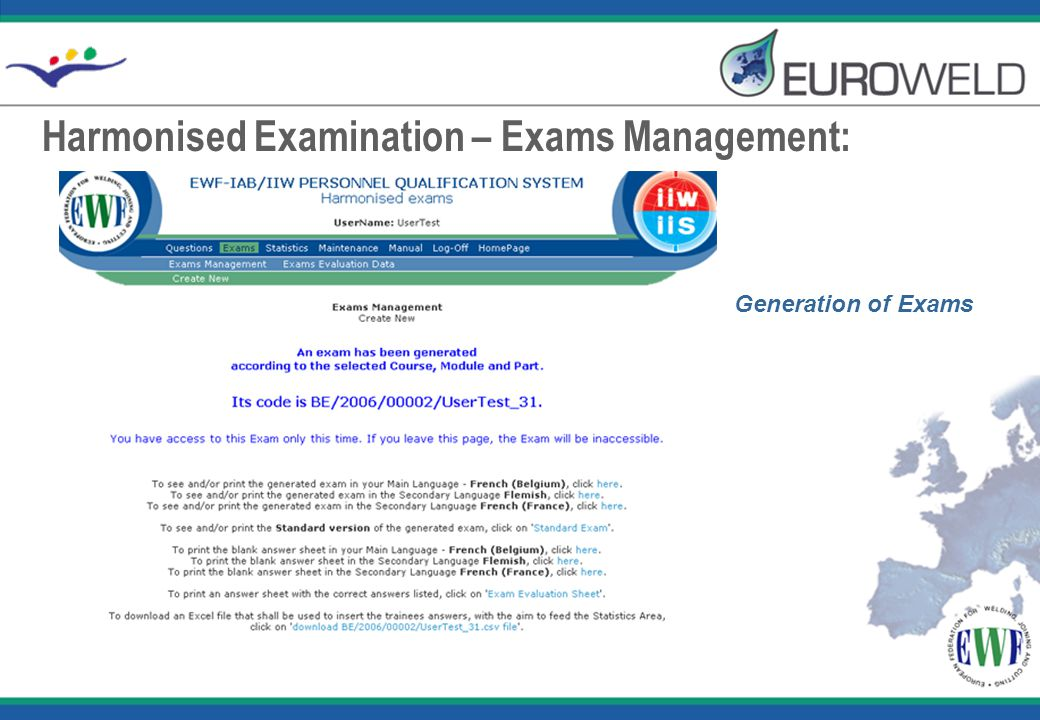 Harmonised Examination – Exams Management: Generation of Exams