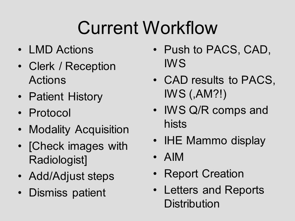 Current Workflow LMD Actions Clerk / Reception Actions Patient History Protocol Modality Acquisition [Check images with Radiologist] Add/Adjust steps Dismiss patient Push to PACS, CAD, IWS CAD results to PACS, IWS (,AM !) IWS Q/R comps and hists IHE Mammo display AIM Report Creation Letters and Reports Distribution