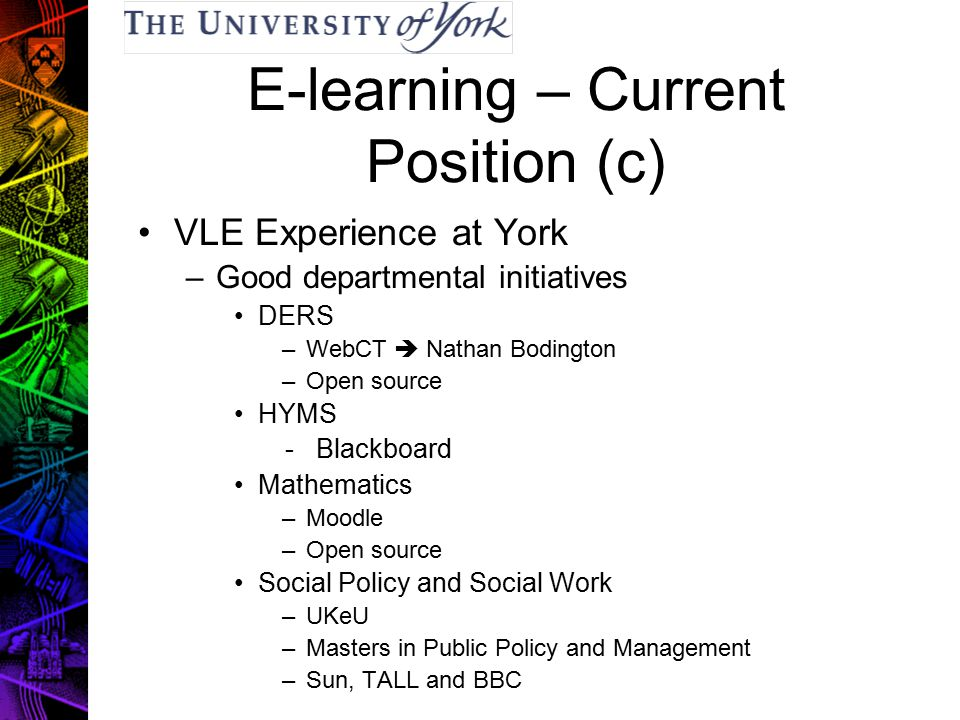 E-learning – Current Position (c) VLE Experience at York –Good departmental initiatives DERS –WebCT  Nathan Bodington –Open source HYMS - Blackboard Mathematics –Moodle –Open source Social Policy and Social Work –UKeU –Masters in Public Policy and Management –Sun, TALL and BBC
