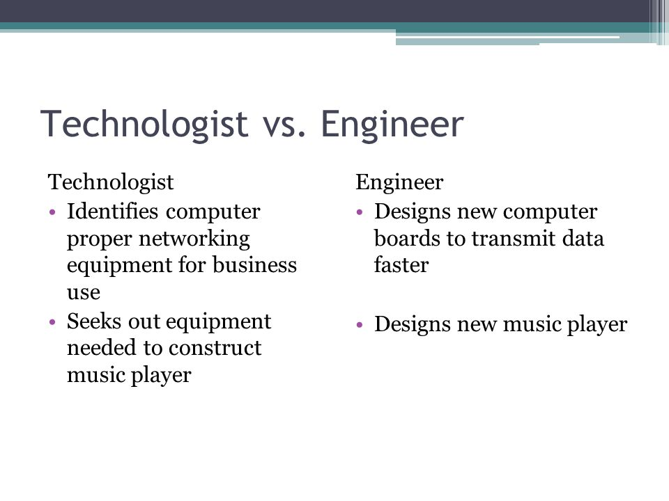 Technologist vs. Engineer Technologist Identifies computer proper networking equipment for business use Seeks out equipment needed to construct music