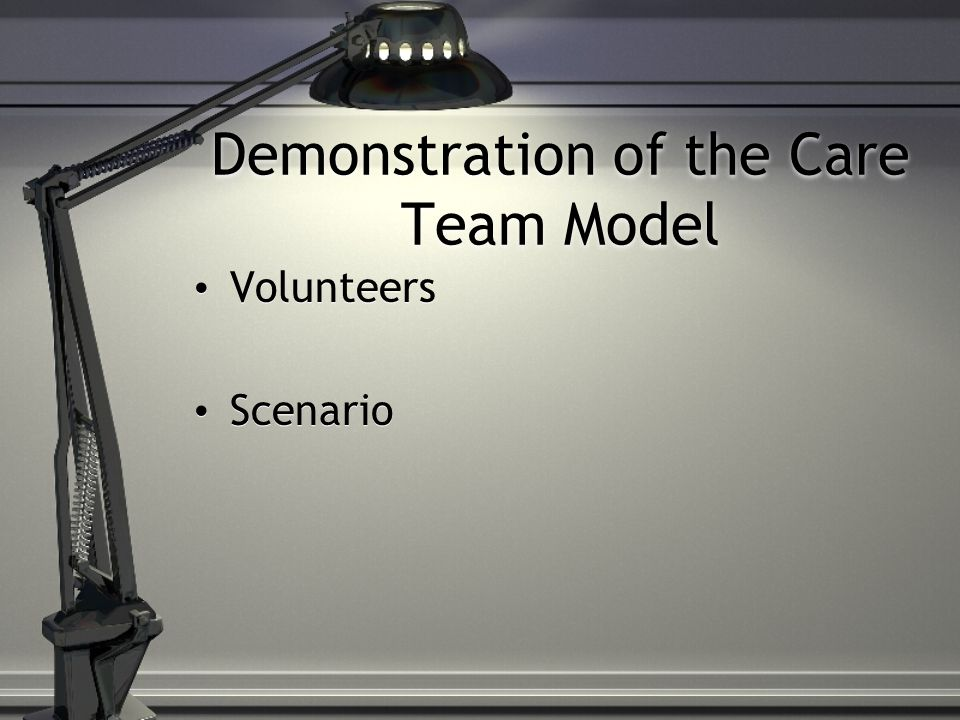Demonstration of the Care Team Model Volunteers Scenario Volunteers Scenario