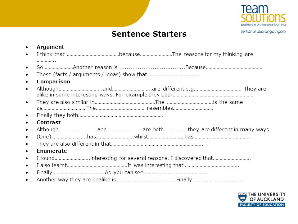 Sentence Starters Argument I think that …………………………………because……………………The reasons for my thinking are …………..