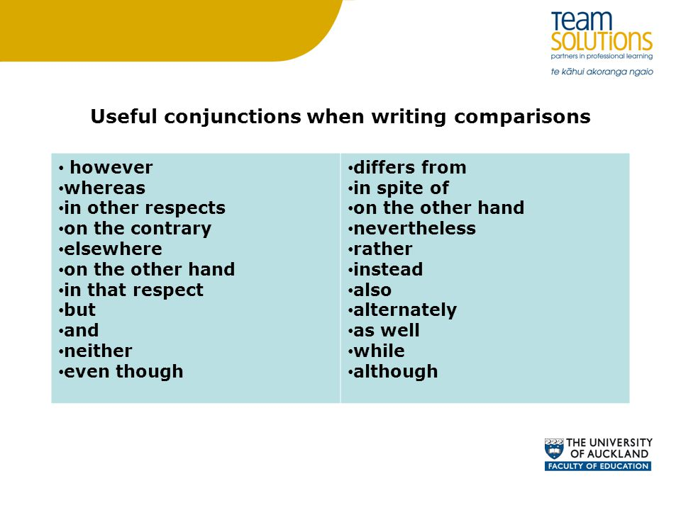 Useful conjunctions when writing comparisons however whereas in other respects on the contrary elsewhere on the other hand in that respect but and neither even though differs from in spite of on the other hand nevertheless rather instead also alternately as well while although
