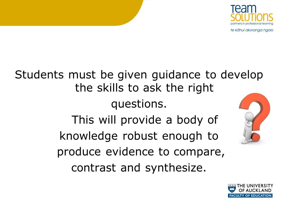 Students must be given guidance to develop the skills to ask the right questions.