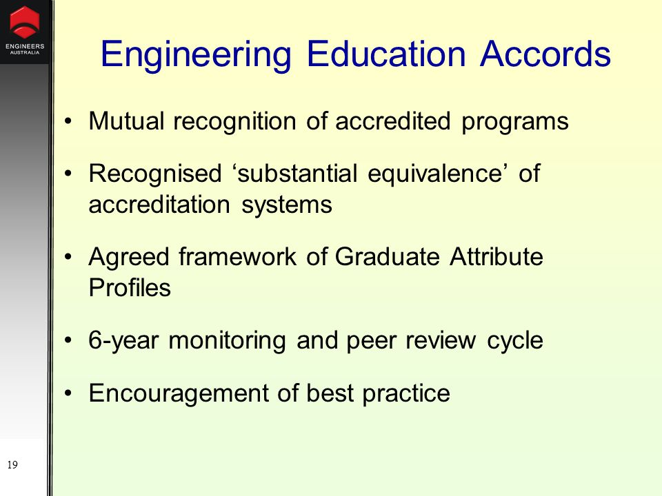 19 Engineering Education Accords Mutual recognition of accredited programs Recognised 'substantial equivalence' of accreditation systems Agreed framework of Graduate Attribute Profiles 6-year monitoring and peer review cycle Encouragement of best practice