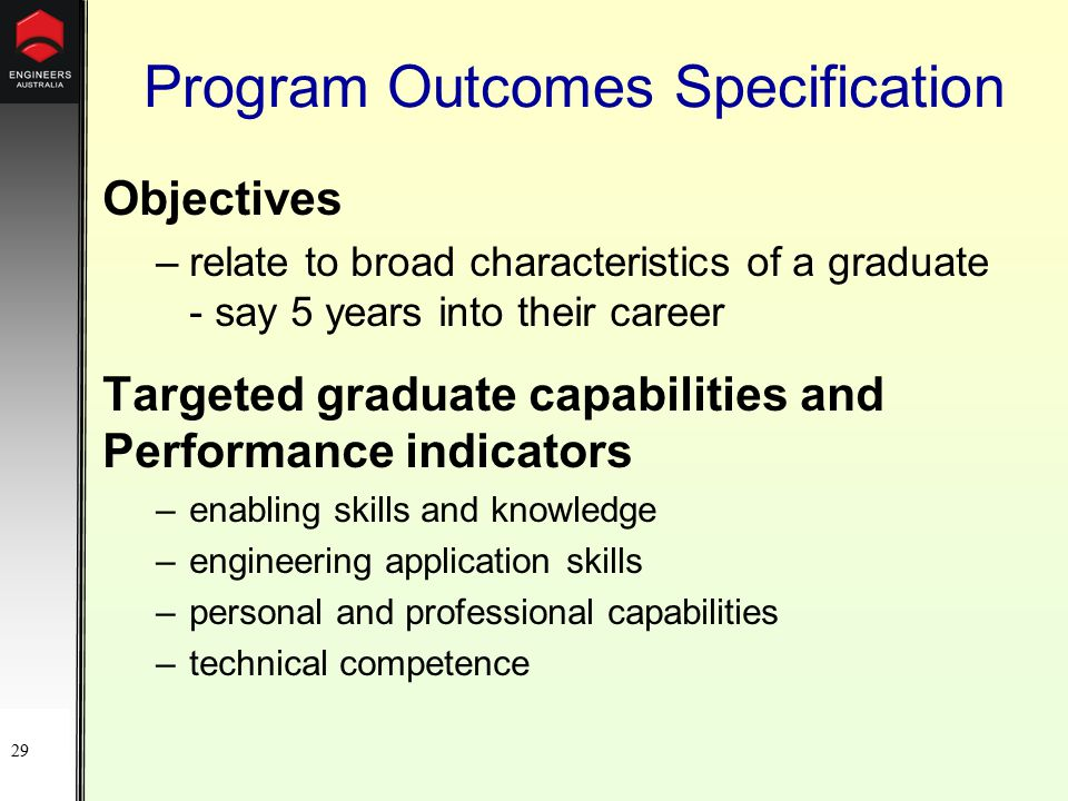 29 Program Outcomes Specification Objectives –relate to broad characteristics of a graduate - say 5 years into their career Targeted graduate capabilities and Performance indicators –enabling skills and knowledge –engineering application skills –personal and professional capabilities –technical competence