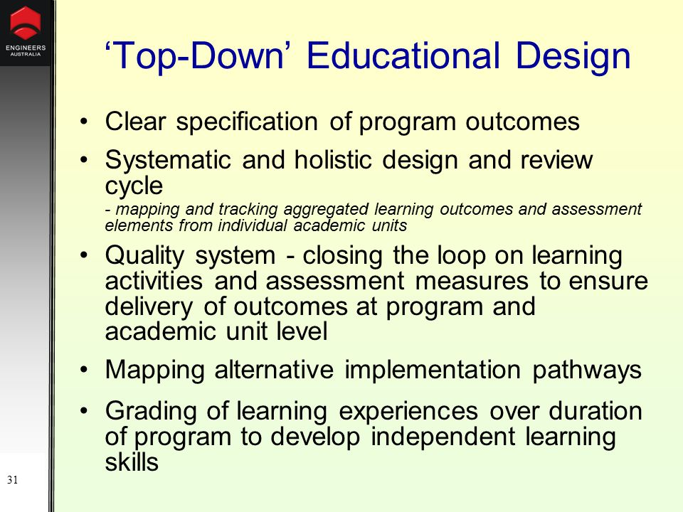 31 'Top-Down' Educational Design Clear specification of program outcomes Systematic and holistic design and review cycle - mapping and tracking aggregated learning outcomes and assessment elements from individual academic units Quality system - closing the loop on learning activities and assessment measures to ensure delivery of outcomes at program and academic unit level Mapping alternative implementation pathways Grading of learning experiences over duration of program to develop independent learning skills
