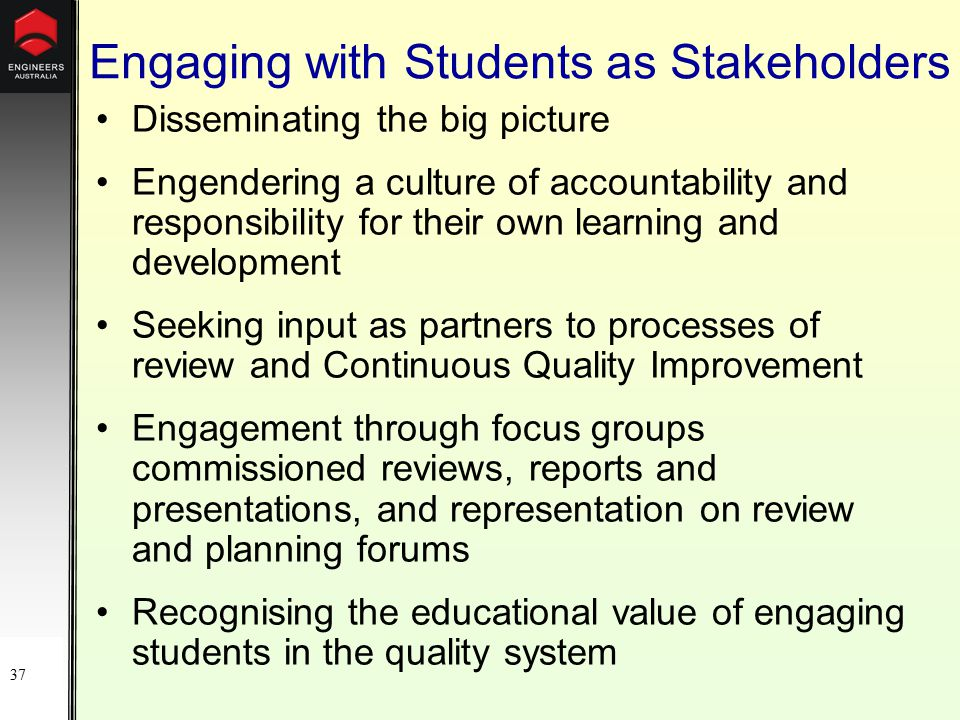 37 Engaging with Students as Stakeholders Disseminating the big picture Engendering a culture of accountability and responsibility for their own learning and development Seeking input as partners to processes of review and Continuous Quality Improvement Engagement through focus groups commissioned reviews, reports and presentations, and representation on review and planning forums Recognising the educational value of engaging students in the quality system