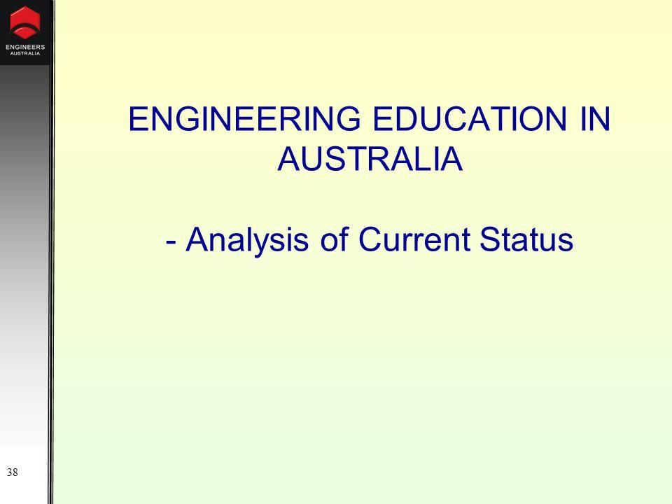 38 ENGINEERING EDUCATION IN AUSTRALIA - Analysis of Current Status