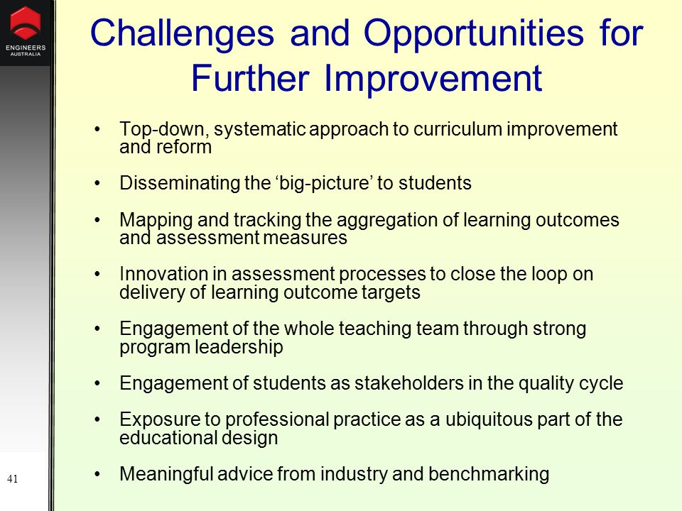41 Challenges and Opportunities for Further Improvement Top-down, systematic approach to curriculum improvement and reform Disseminating the 'big-picture' to students Mapping and tracking the aggregation of learning outcomes and assessment measures Innovation in assessment processes to close the loop on delivery of learning outcome targets Engagement of the whole teaching team through strong program leadership Engagement of students as stakeholders in the quality cycle Exposure to professional practice as a ubiquitous part of the educational design Meaningful advice from industry and benchmarking