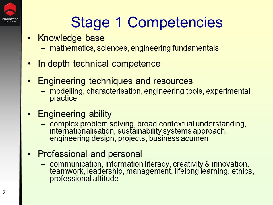 9 Stage 1 Competencies Knowledge base –mathematics, sciences, engineering fundamentals In depth technical competence Engineering techniques and resources –modelling, characterisation, engineering tools, experimental practice Engineering ability –complex problem solving, broad contextual understanding, internationalisation, sustainability systems approach, engineering design, projects, business acumen Professional and personal –communication, information literacy, creativity & innovation, teamwork, leadership, management, lifelong learning, ethics, professional attitude