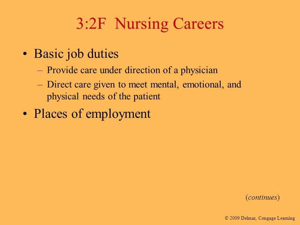 © 2009 Delmar, Cengage Learning 3:2F Nursing Careers Basic job duties –Provide care under direction of a physician –Direct care given to meet mental,
