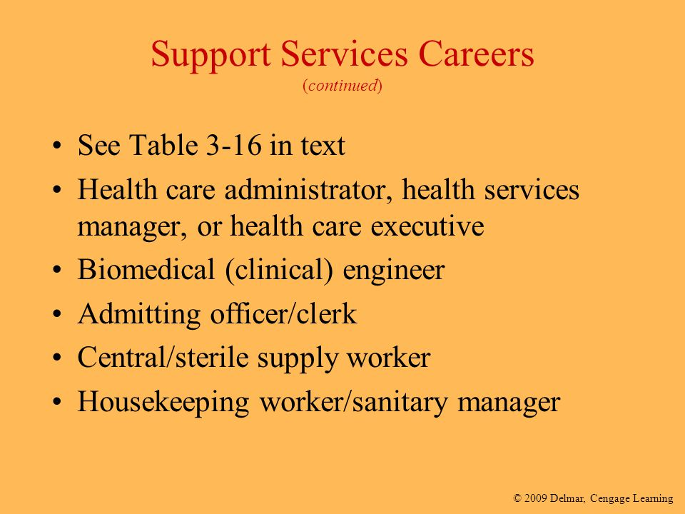© 2009 Delmar, Cengage Learning Support Services Careers (continued) See Table 3-16 in text Health care administrator, health services manager, or hea
