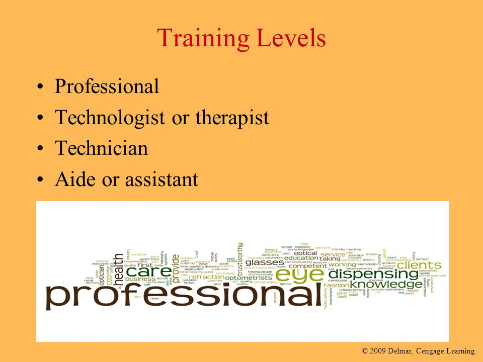 © 2009 Delmar, Cengage Learning Training Levels Professional Technologist or therapist Technician Aide or assistant