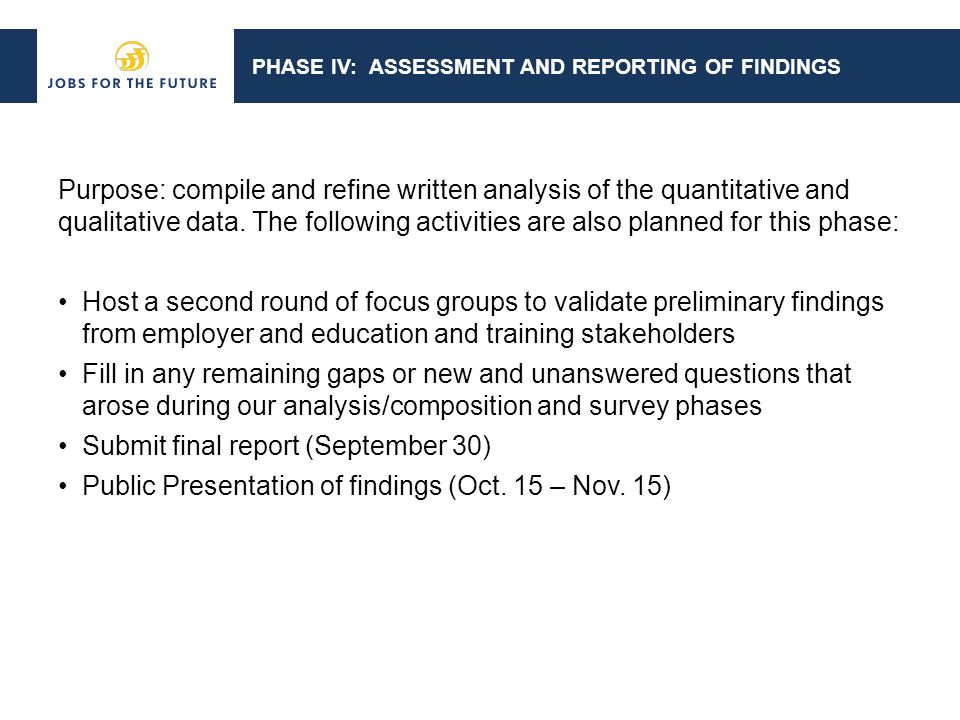 PHASE IV: ASSESSMENT AND REPORTING OF FINDINGS Purpose: compile and refine written analysis of the quantitative and qualitative data.