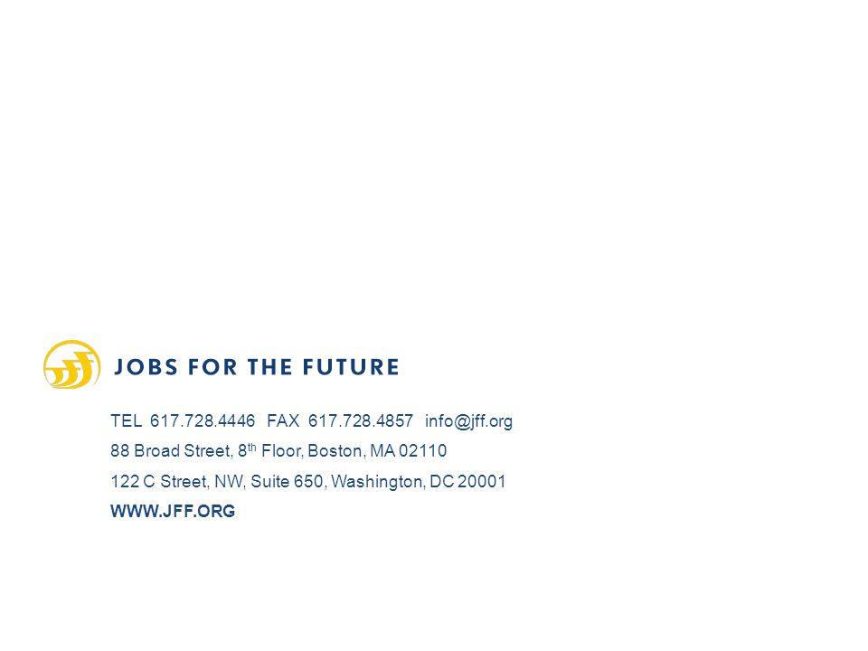 TEL 617.728.4446 FAX 617.728.4857 info@jff.org 88 Broad Street, 8 th Floor, Boston, MA 02110 122 C Street, NW, Suite 650, Washington, DC 20001 WWW.JFF.ORG