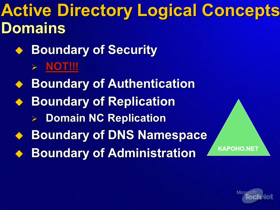 Active Directory Logical Concepts Trees  Hierarchy of Domains forming a contiguous DNS namespace  Transitive Trust Relationships between domains  All domains in a Tree share:  Schema  Configuration  Global Catalog KAPOHO.NET EUROPE.KAPOHO.NET HAWAII.KAPOHO.NET MAUI.HAWAII.KAPOHO.NET