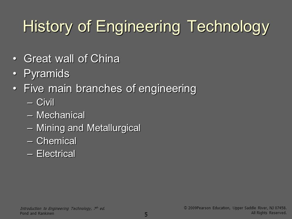 Introduction to Engineering Technology, 7 th ed.