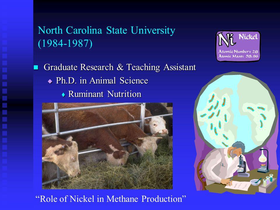 Pennsylvania State University (1982-1984) Graduate Research Assistant  M.S.