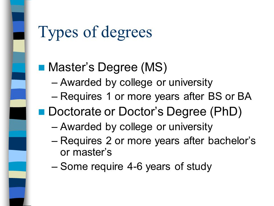 Types of degrees Master's Degree (MS) –Awarded by college or university –Requires 1 or more years after BS or BA Doctorate or Doctor's Degree (PhD) –Awarded by college or university –Requires 2 or more years after bachelor's or master's –Some require 4-6 years of study
