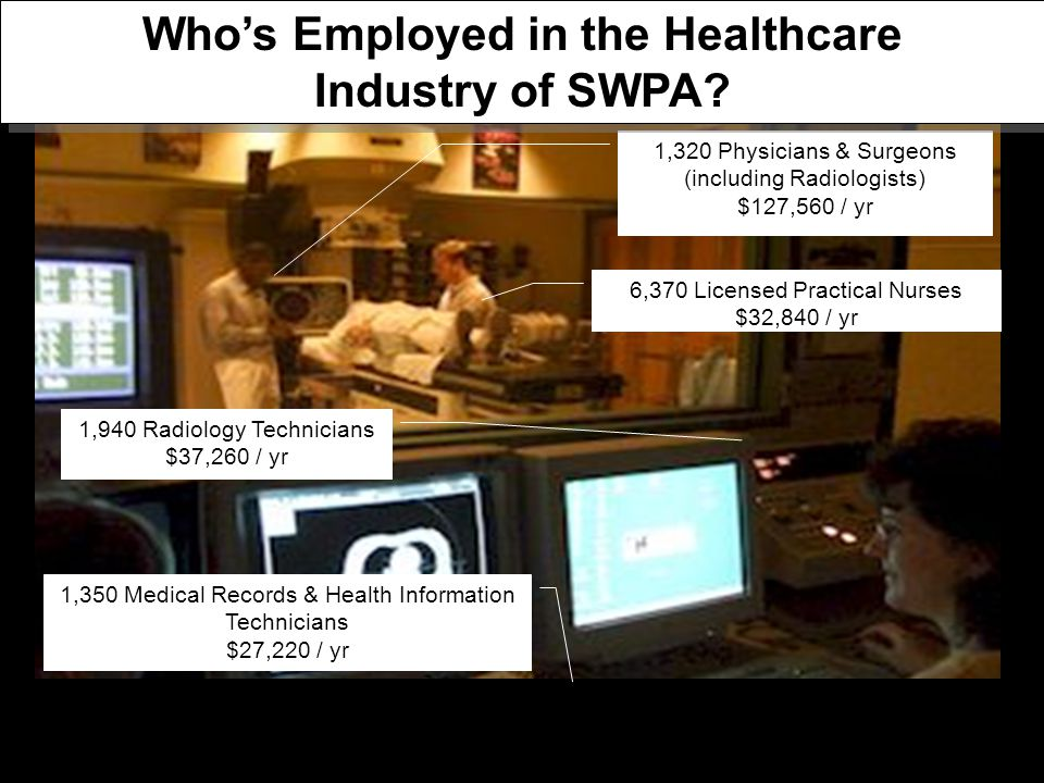 1,940 Radiology Technicians $37,260 / yr 1,350 Medical Records & Health Information Technicians $27,220 / yr 6,370 Licensed Practical Nurses $32,840 / yr 1,320 Physicians & Surgeons (including Radiologists) $127,560 / yr Who's Employed in the Healthcare Industry of SWPA
