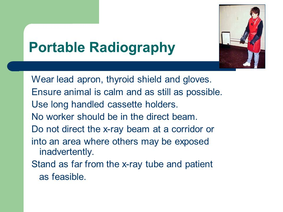 "Wear a lead apron during fluoro 0.5 mm lead equivalent for fluoro aprons - ""wrap around"" style aprons are best."