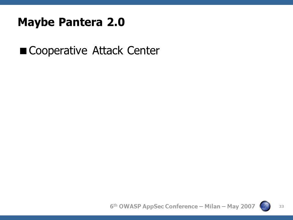 6 th OWASP AppSec Conference – Milan – May 2007 Maybe Pantera 2.0  Cooperative Attack Center 33