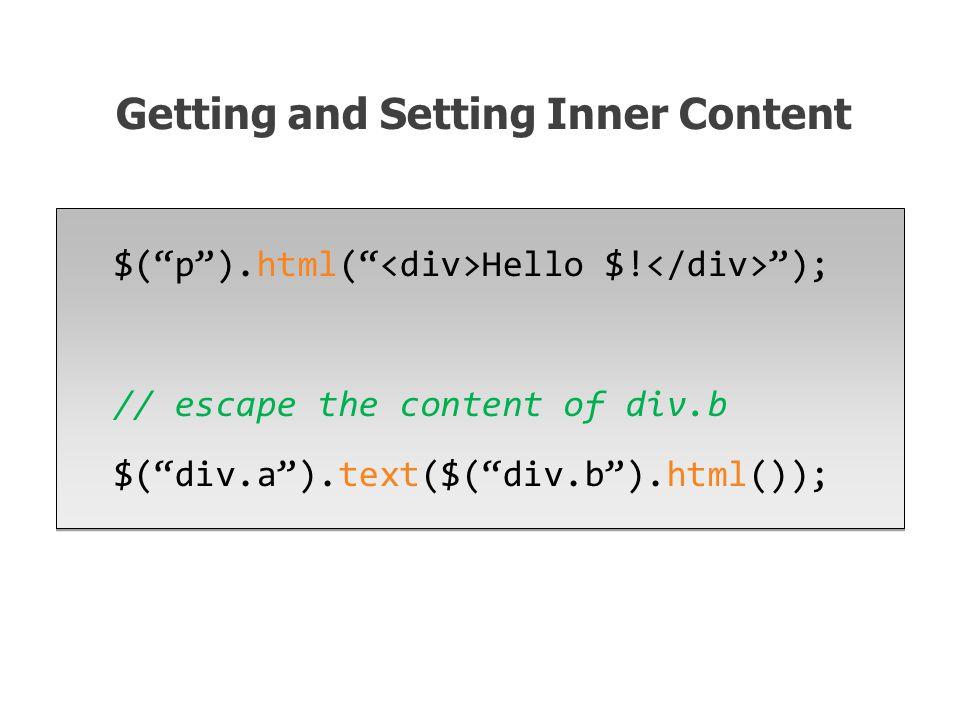 $( p ).html( Hello $.