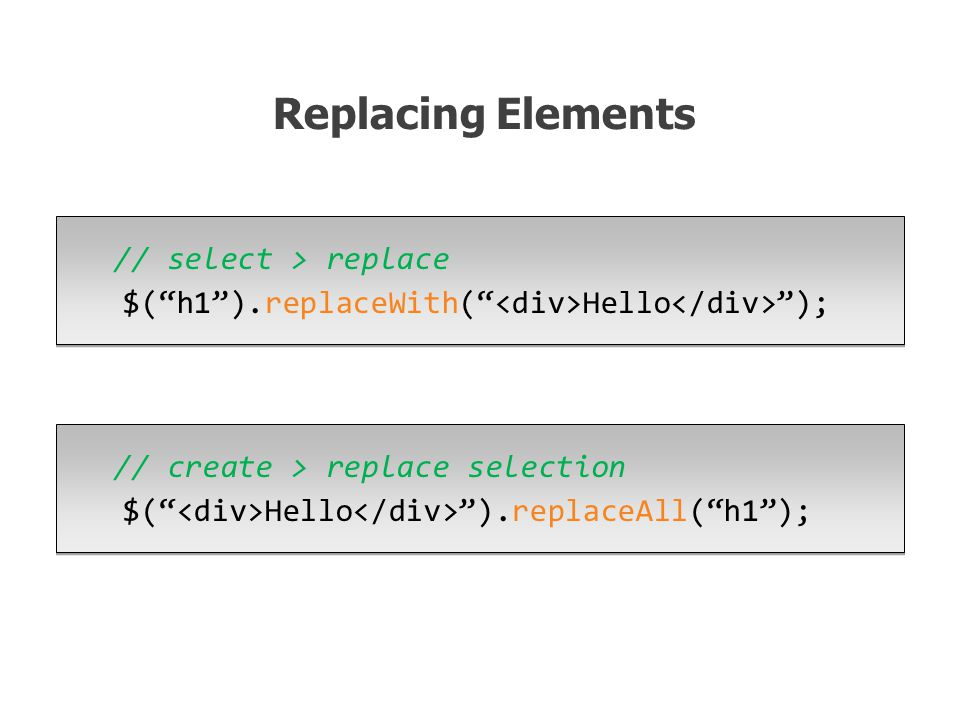 // select > replace $( h1 ).replaceWith( Hello ); Replacing Elements // create > replace selection $( Hello ).replaceAll( h1 );