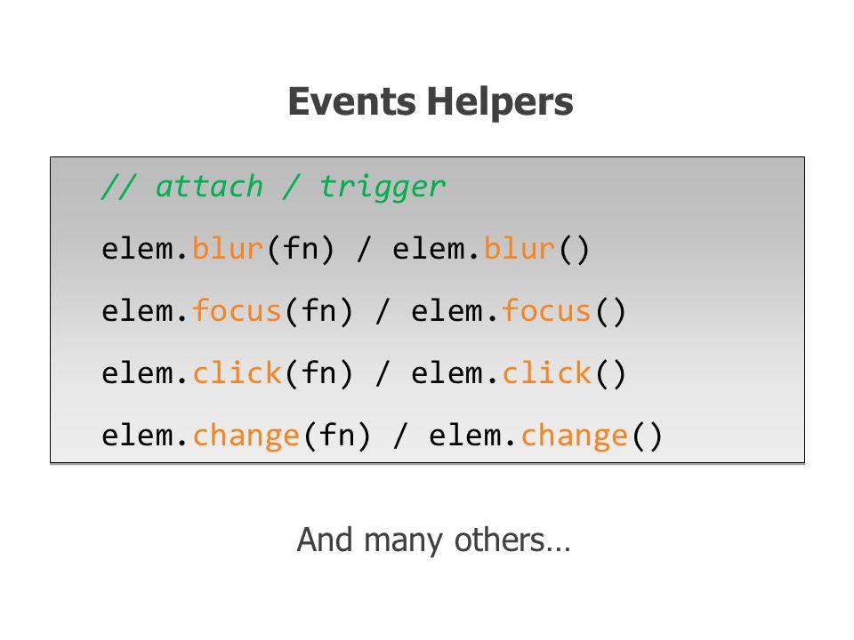 // attach / trigger elem.blur(fn) / elem.blur() elem.focus(fn) / elem.focus() elem.click(fn) / elem.click() elem.change(fn) / elem.change() // attach / trigger elem.blur(fn) / elem.blur() elem.focus(fn) / elem.focus() elem.click(fn) / elem.click() elem.change(fn) / elem.change() Events Helpers And many others…