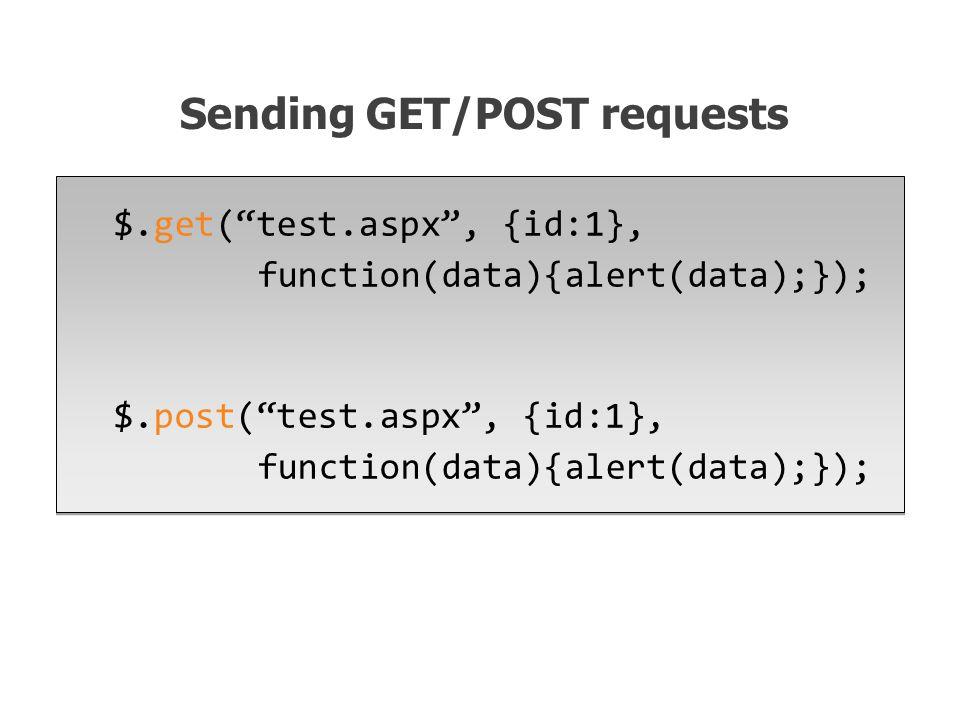 $.get( test.aspx , {id:1}, function(data){alert(data);}); $.post( test.aspx , {id:1}, function(data){alert(data);}); $.get( test.aspx , {id:1}, function(data){alert(data);}); $.post( test.aspx , {id:1}, function(data){alert(data);}); Sending GET/POST requests