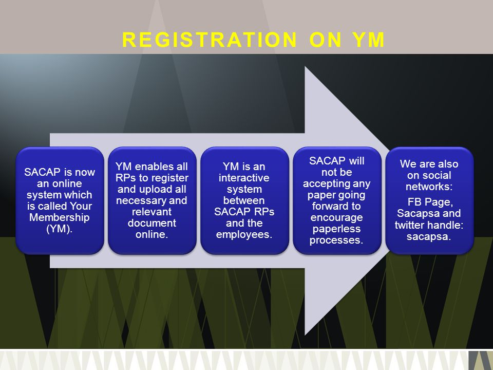 REGISTRATION ON YM SACAP is now an online system which is called Your Membership (YM). YM enables all RPs to register and upload all necessary and rel
