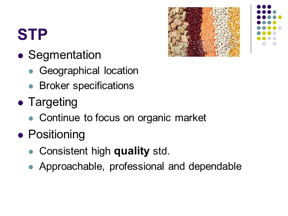 STP Segmentation Geographical location Broker specifications Targeting Continue to focus on organic market Positioning Consistent high quality std.