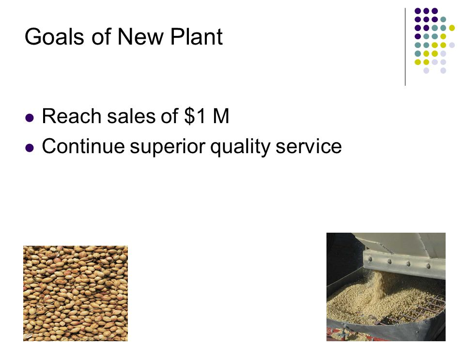 Goals of New Plant Reach sales of $1 M Continue superior quality service