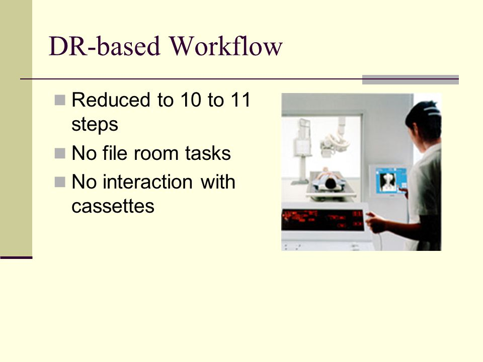 DR-based Workflow Reduced to 10 to 11 steps No file room tasks No interaction with cassettes