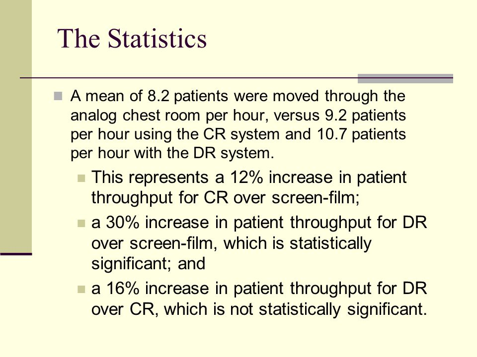 The Statistics A mean of 8.2 patients were moved through the analog chest room per hour, versus 9.2 patients per hour using the CR system and 10.7 pat