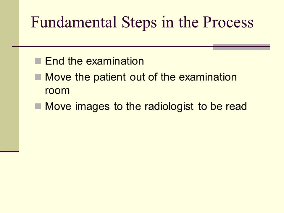 Fundamental Steps in the Process End the examination Move the patient out of the examination room Move images to the radiologist to be read