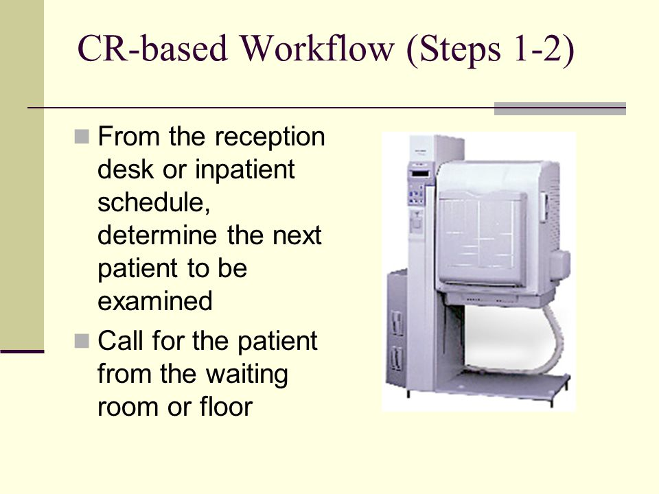 CR-based Workflow (Steps 1-2) From the reception desk or inpatient schedule, determine the next patient to be examined Call for the patient from the w