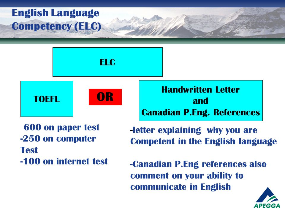 English Language Competency (ELC) ELC TOEFL Handwritten Letter and Canadian P.Eng. References - 600 on paper test -250 on computer Test -100 on intern